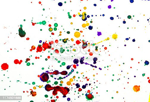 944453740 istock photo Colorful watercolor drops or splashes on white background 1174501888