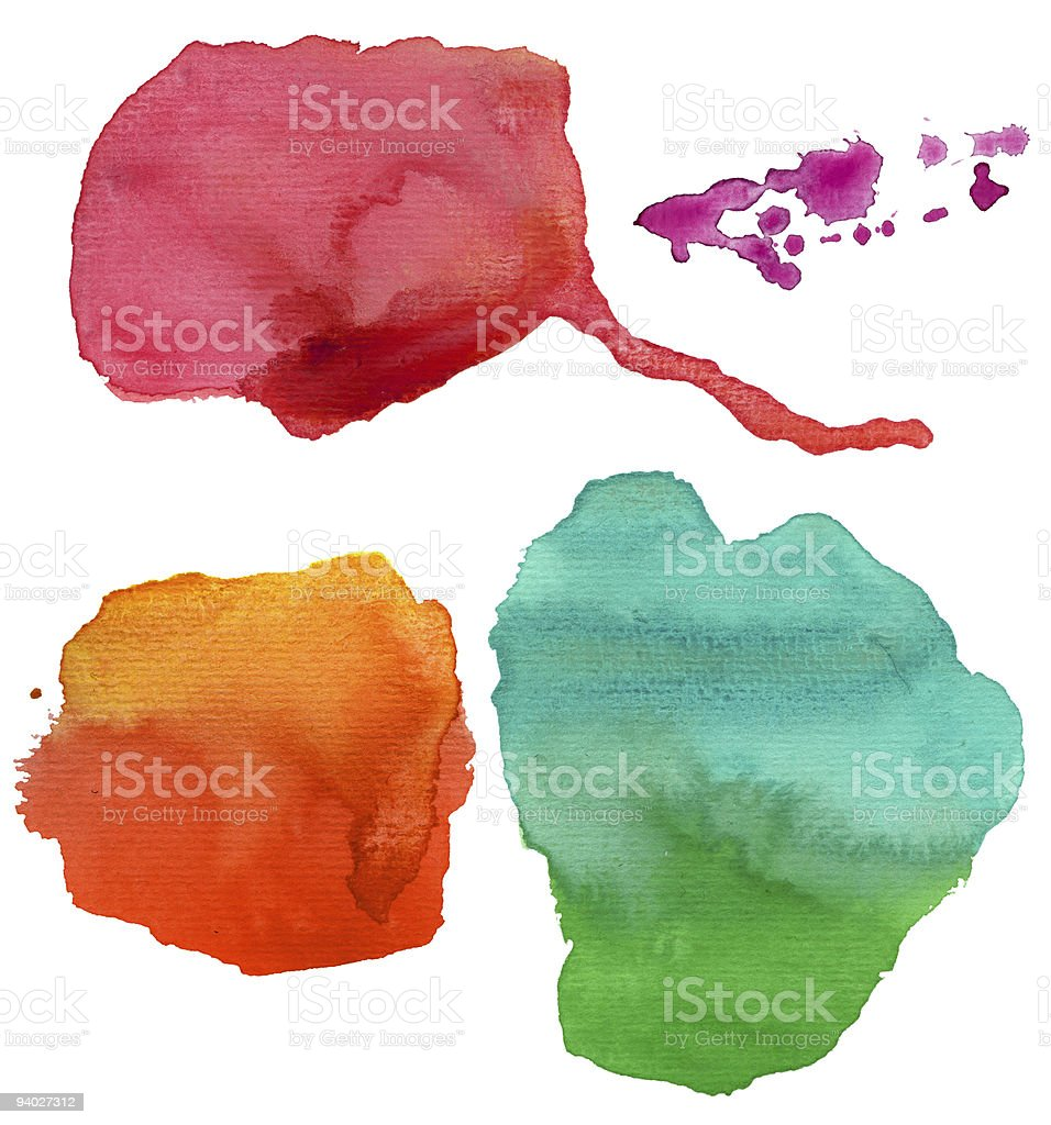 colorful watercolor stains (isolated) royalty-free stock photo