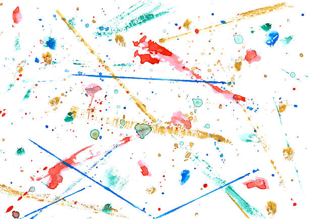 colorful watercolor strokes, dots and stains stock photo