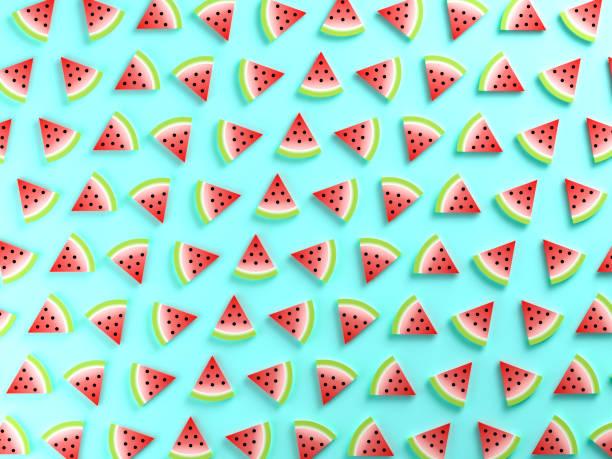 fond de melon d'eau coloré alimentaire - design plat photos et images de collection