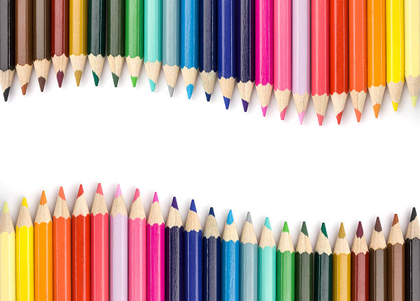 colorful wave - coloured pencil stock photos and pictures