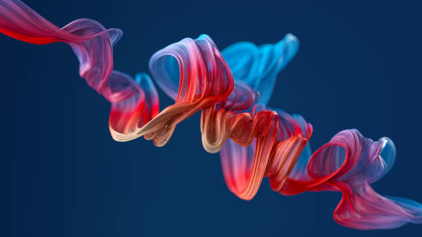 colorful wavy object Abstract background of colorful curved wires technology stock pictures, royalty-free photos & images