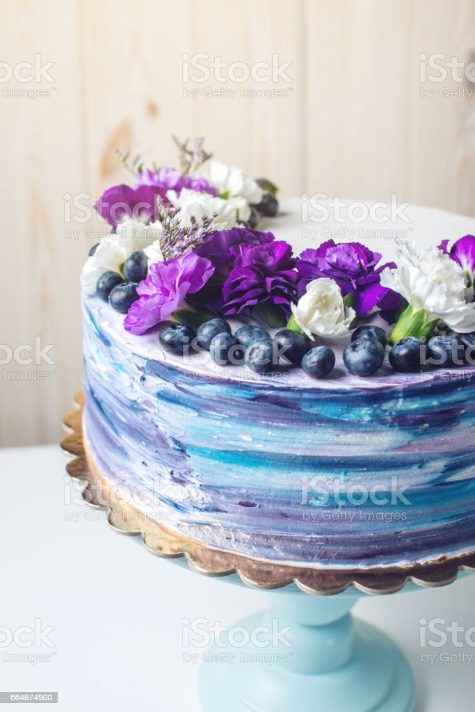 Cool Colorful Wedding Cake With Lovely Purple Flowers And Blueberries Funny Birthday Cards Online Elaedamsfinfo
