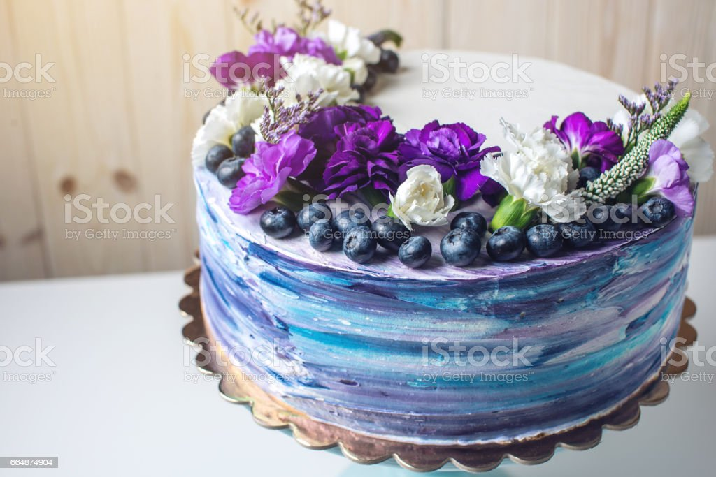 Marvelous Colorful Wedding Cake With Lovely Purple Flowers And Blueberries Funny Birthday Cards Online Elaedamsfinfo