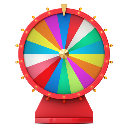 istock Colorful wheel of luck or fortune. Realistic spinning fortune wheel. Wheel fortune isolated on white background, 3d illustration 821516476