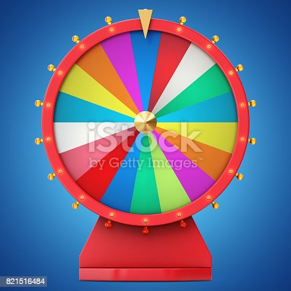 istock Colorful wheel of luck or fortune. Realistic spinning fortune wheel. Wheel fortune isolated on blue tint background, 3d illustration 821516484