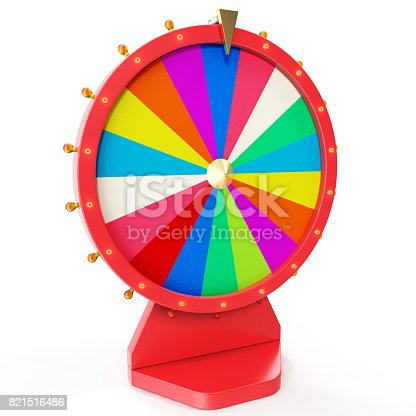 istock Colorful wheel of luck or fortune. Realistic spinning fortune wheel. Wheel fortune isolated on white background, 3d illustration 821516486