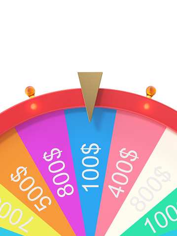 istock Colorful wheel of luck or fortune. Realistic spinning fortune wheel. Wheel fortune isolated on white background, 3d illustration 821516518