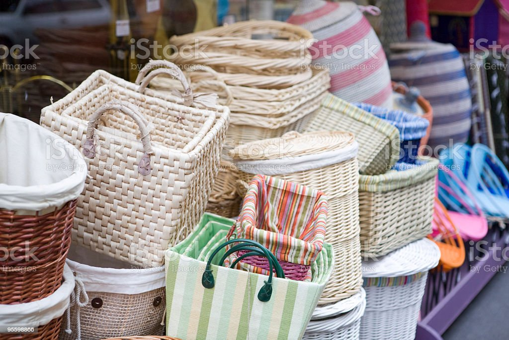 Colorful wicker baskets royalty-free stock photo