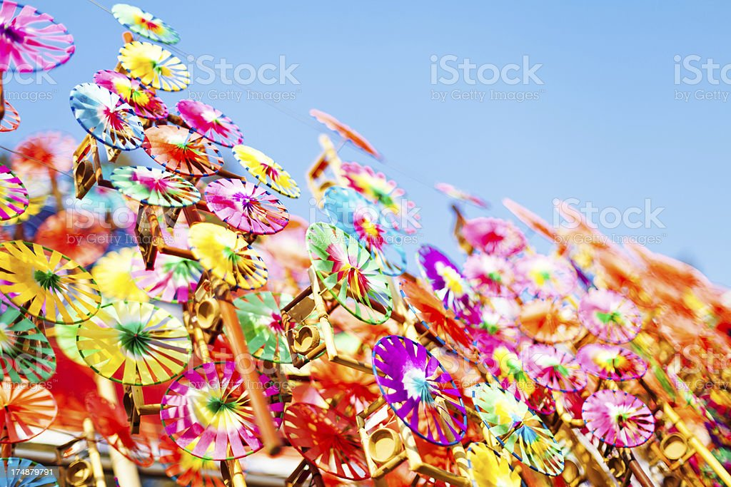 Colorful windmill toys in sales royalty-free stock photo
