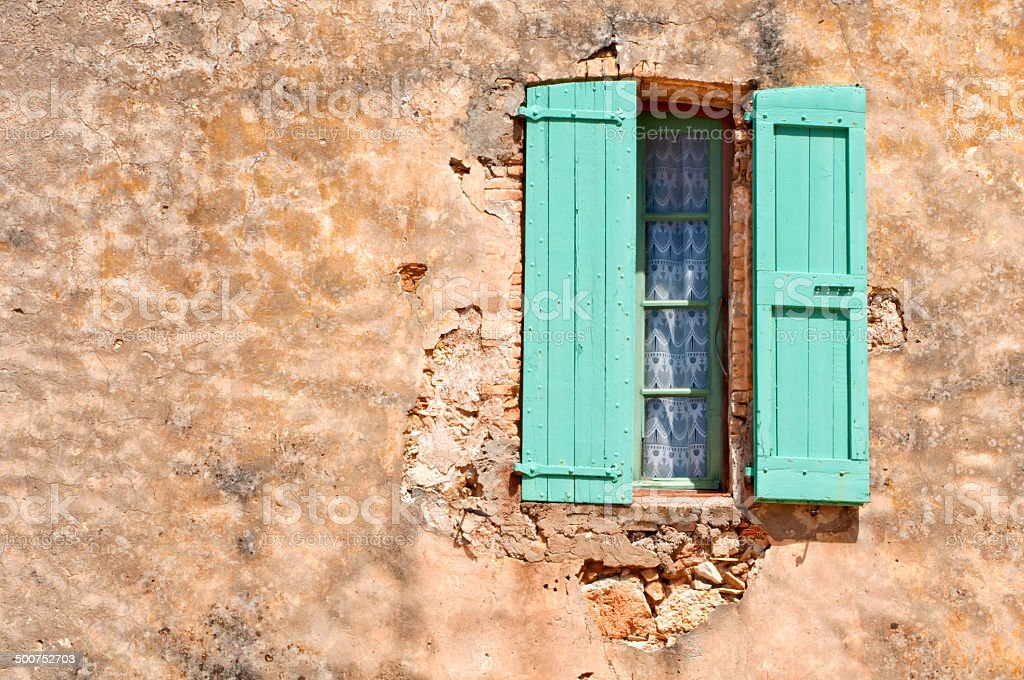 Colorful window on a building in the south of France stock photo