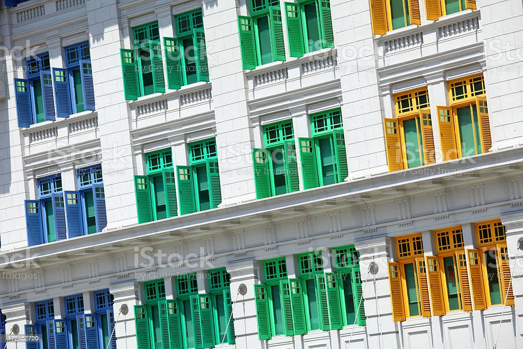 Colorful windows in Singapore royalty-free stock photo