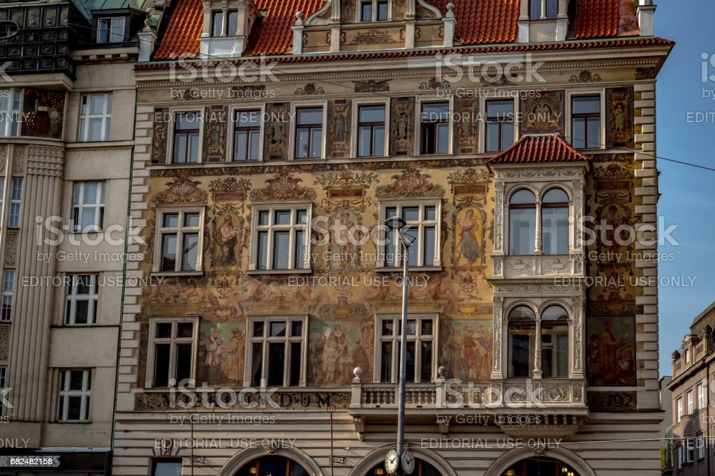 Colorful windows with pediment of Prague royalty-free stock photo