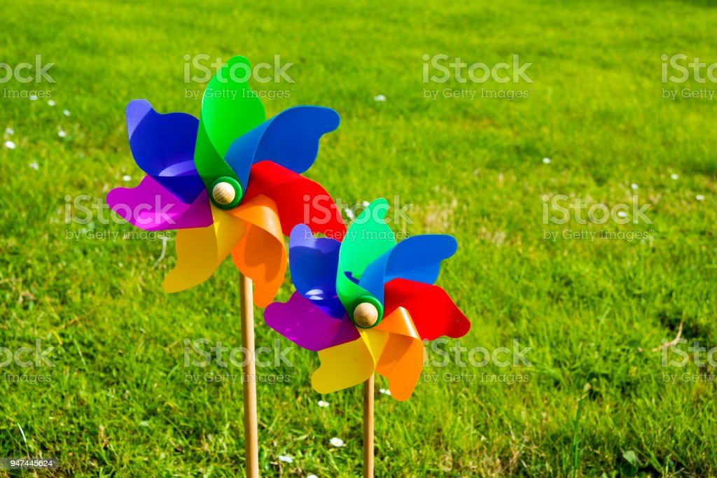 Colorful windwheels outdoor stock photo