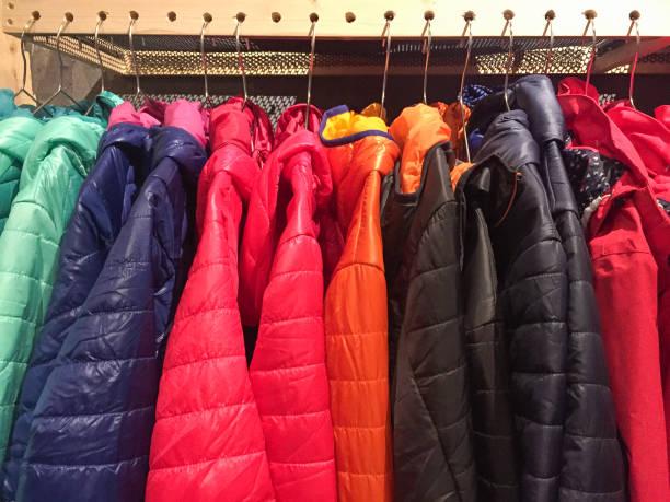 colorful winter down jacket, winter season - ダウンジャケット ストックフォトと画像