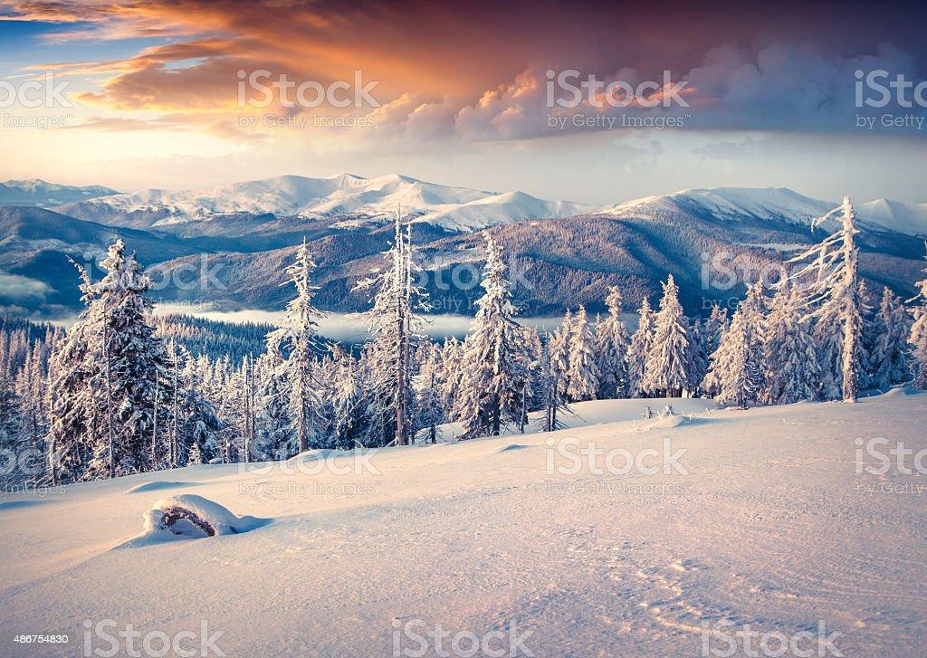 Bunte winter-Sonnenaufgang im Carpathian die Berge. – Foto