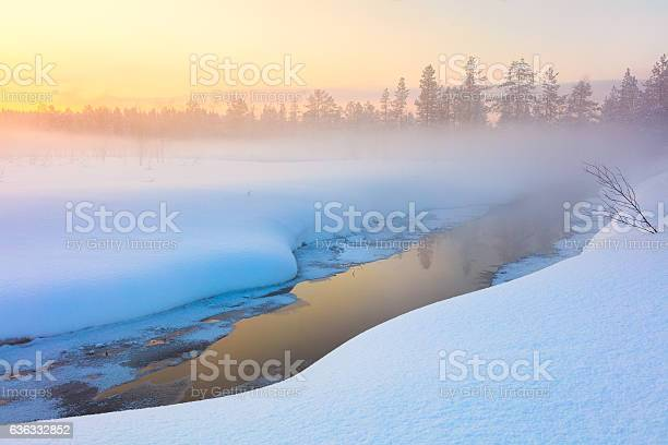 Photo of Colorful winter sunset in forest and river with beautiful misty