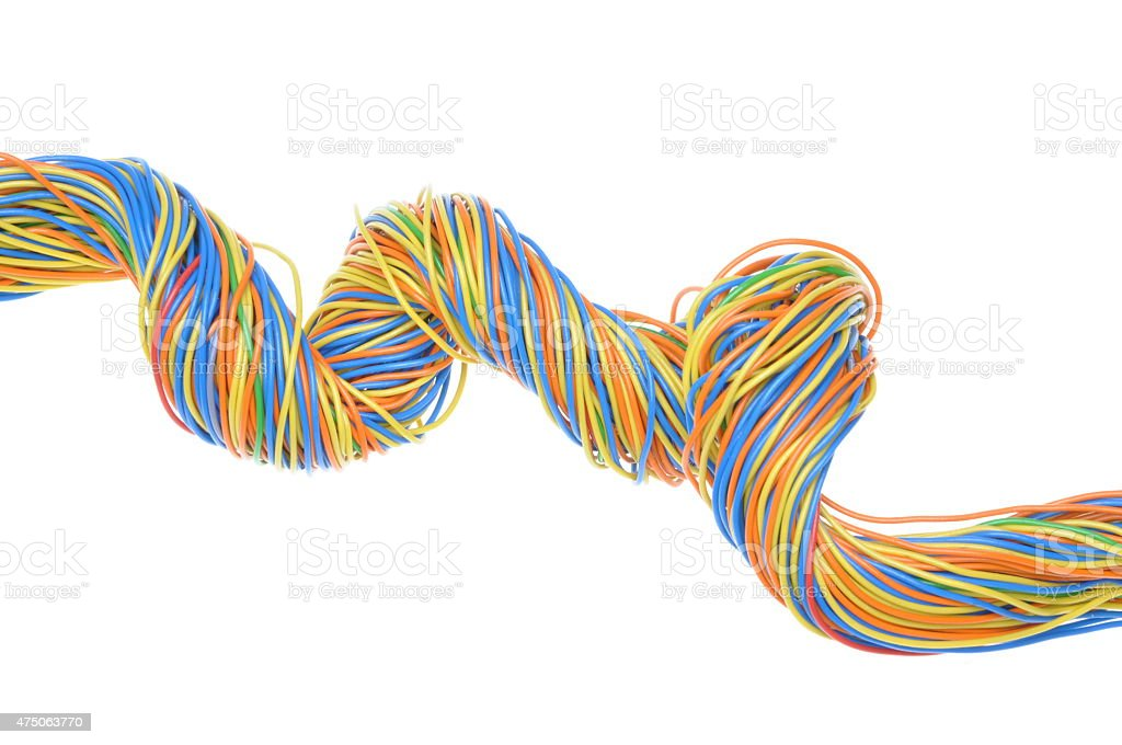 Colorful wires stock photo