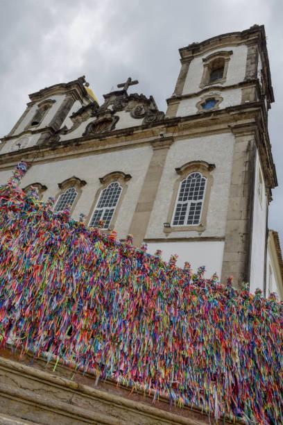 Colorful wish ribbons in front of Bonfim church at Salvador Bahia, Brazil stock photo