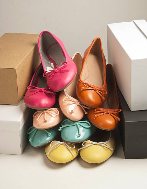 colorful women's shoes - flat shoe stock photos and pictures