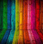 room is made ??of wood, with bright colored paint