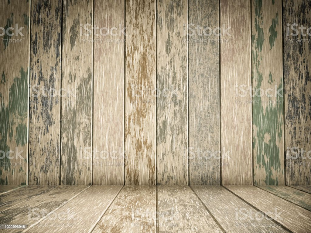 Colorful wood flooring and wood wall stock photo