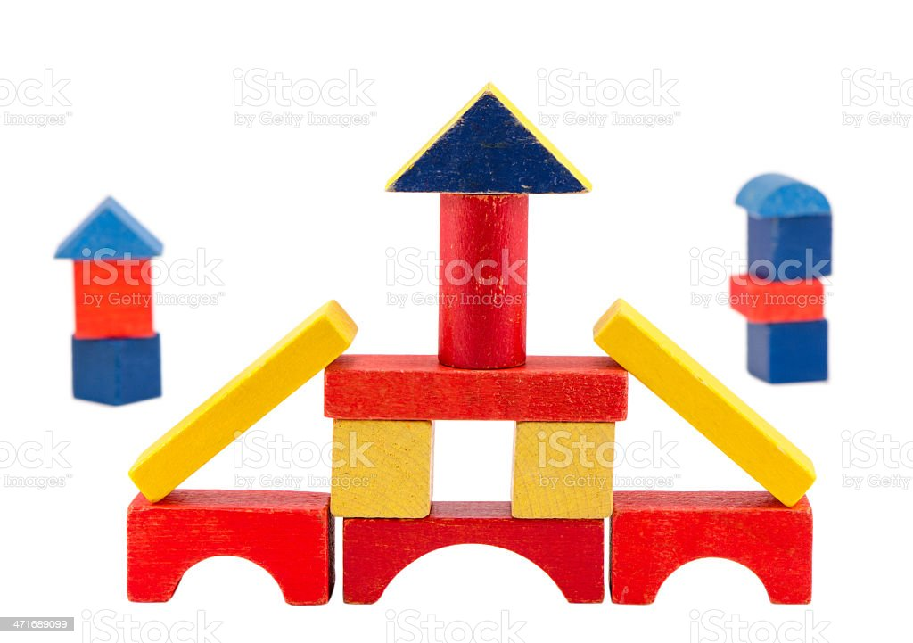 colorful wood toy brick construction on white royalty-free stock photo