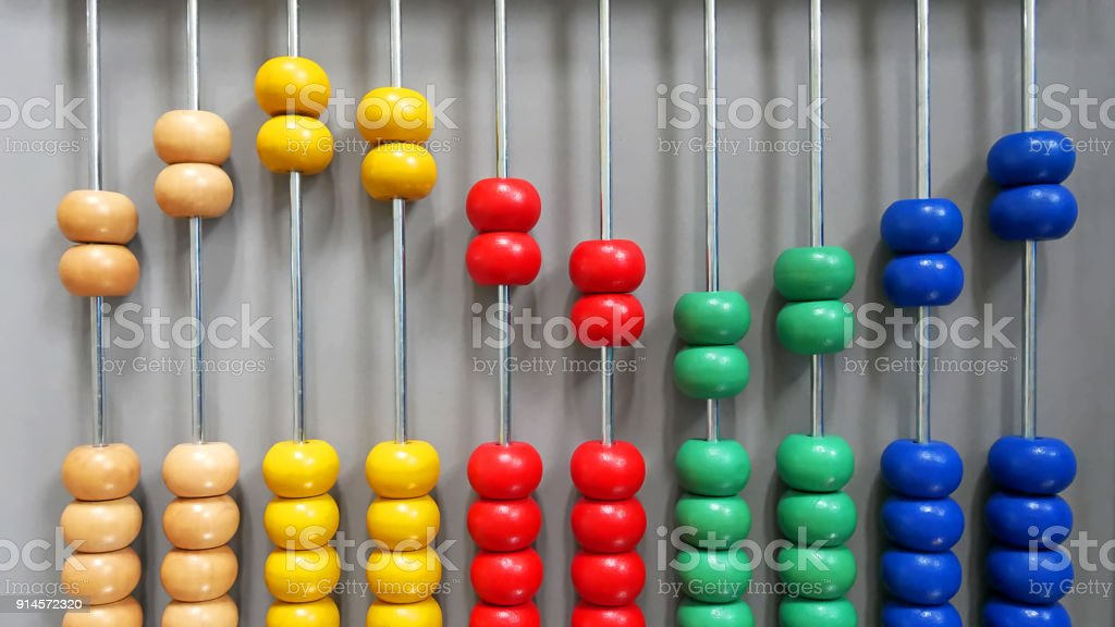 Colorful Wooden Abacus Beads in Sine Wave Pattern stock photo