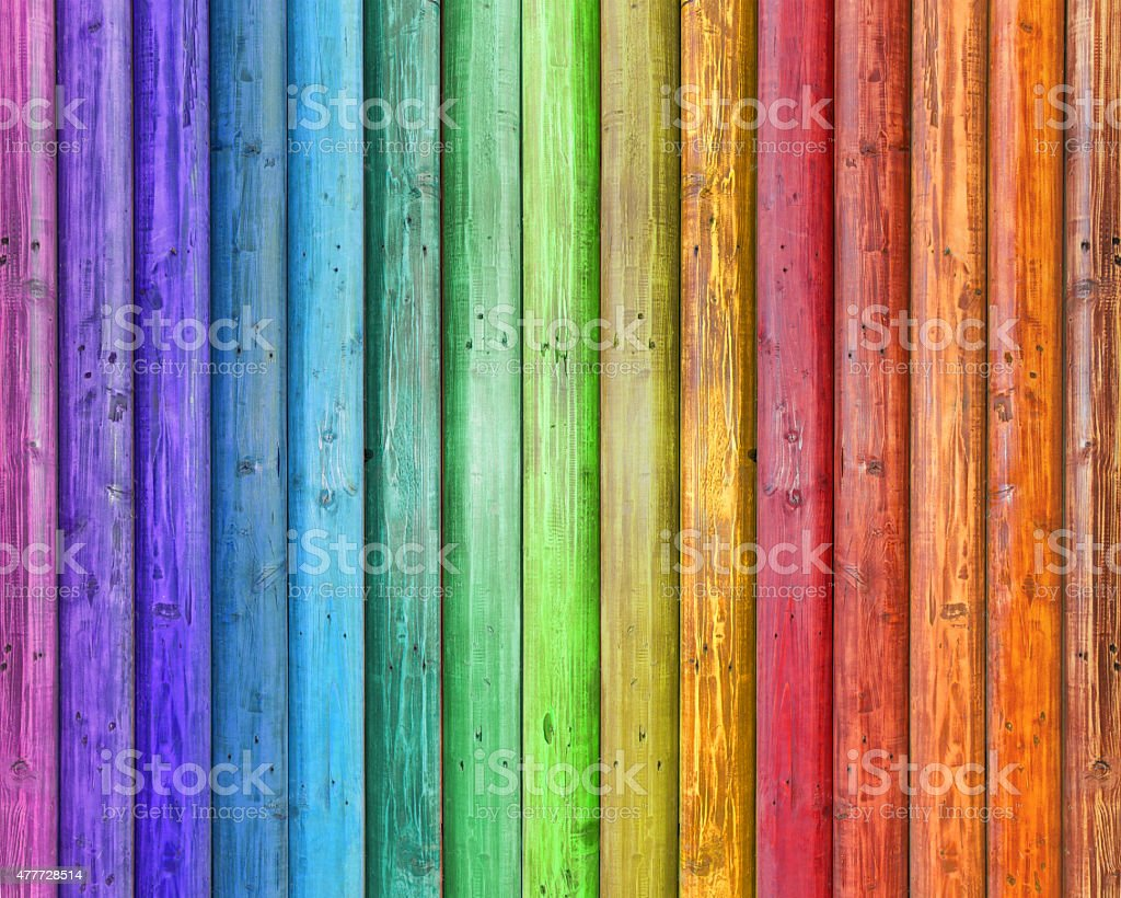 colorful wooden background - Rainbow color stock photo