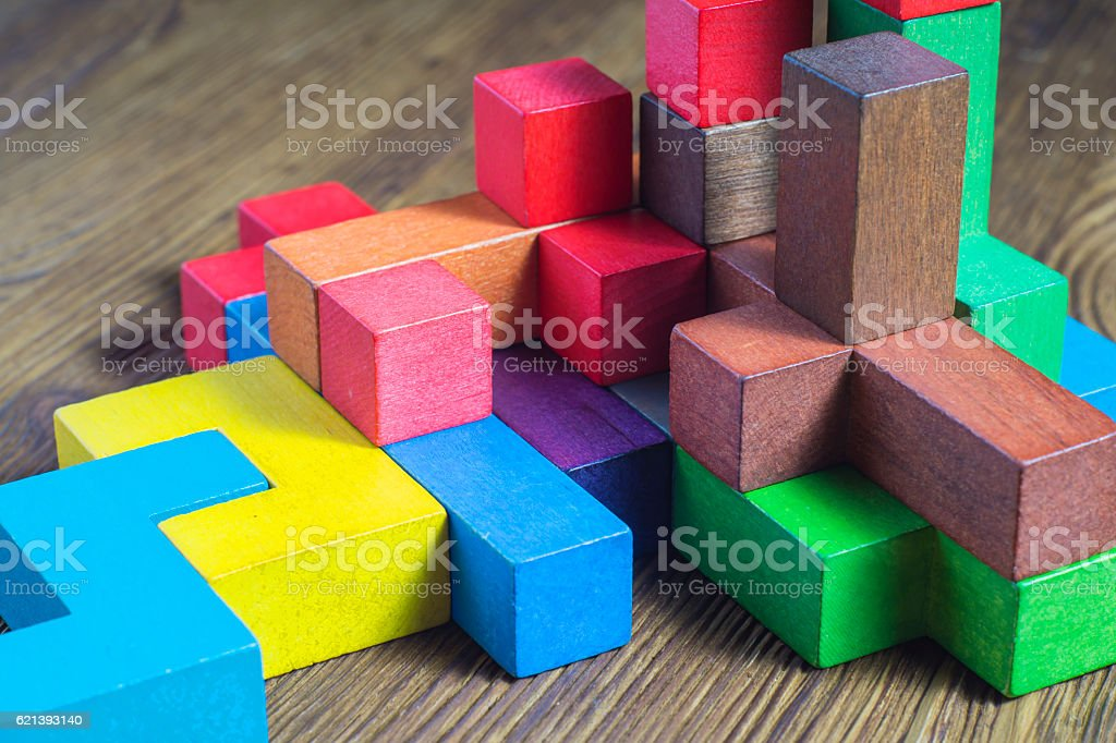 Colorful wooden building blocks. stock photo
