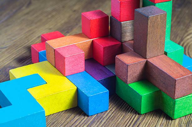 Colorful wooden building blocks. - foto de stock