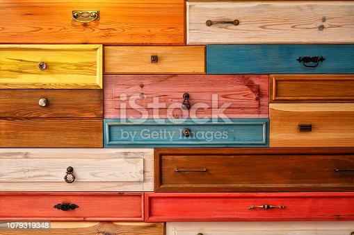 Colorful Wooden Drawer, Abstract Decorative Design on Wall