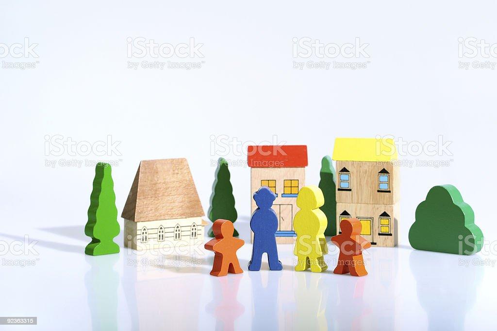 Bunte Holz-Ziegel Spielzeug Persönlichkeiten Lizenzfreies stock-foto