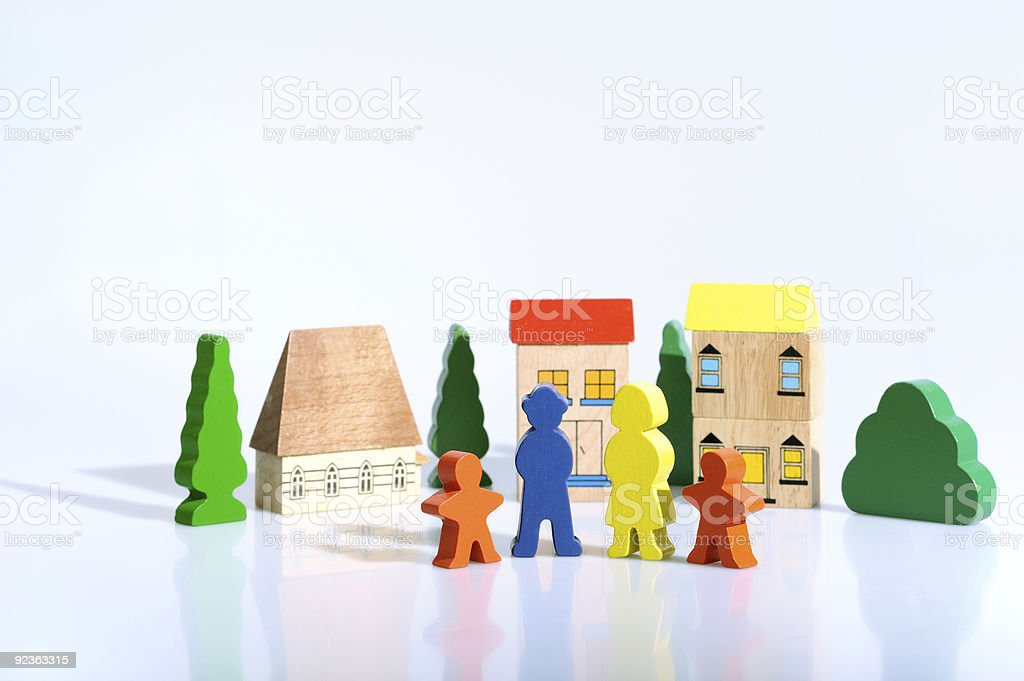 colorful wooden figures - brick toys stock photo