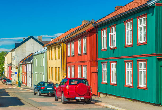 Colorful wooden houses in Oslo, Norway stock photo