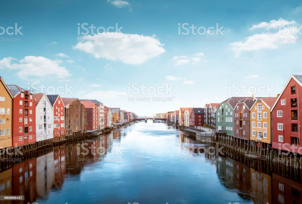 Colorful wooden houses in Trondheim, Norway stock photo