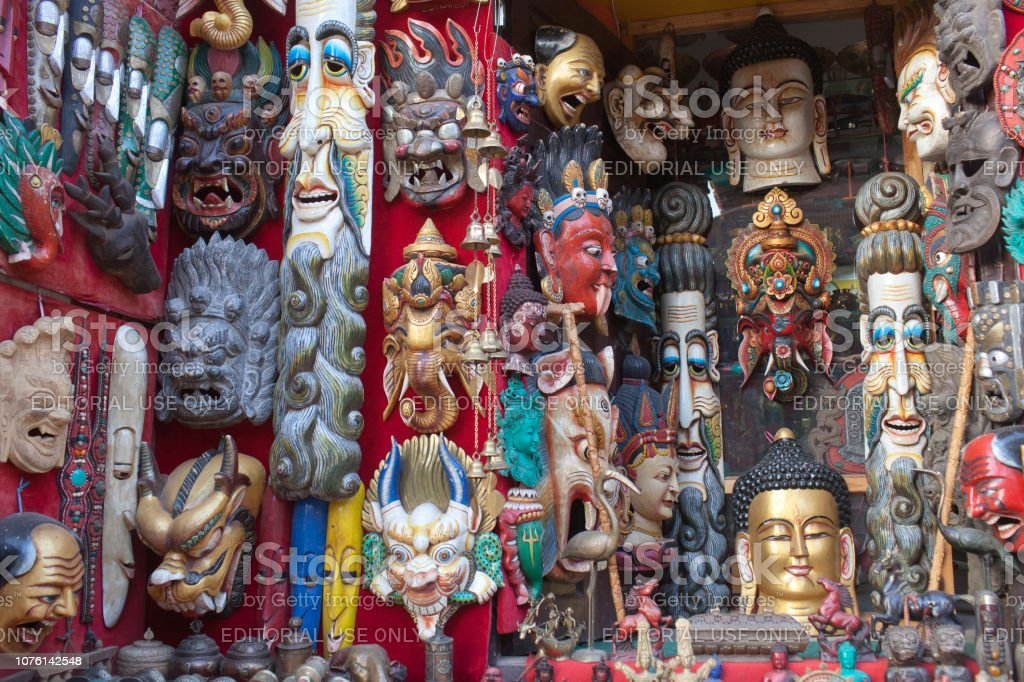 Colorful wooden masks and handicrafts on sale in Bhaktapur, Nepal stock photo