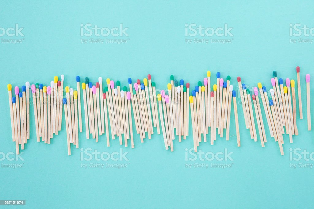Colorful wooden matches stock photo