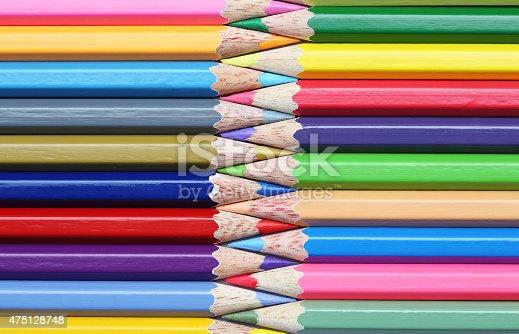 Colorful wooden pencils art composition zigzag. Colorful Concept