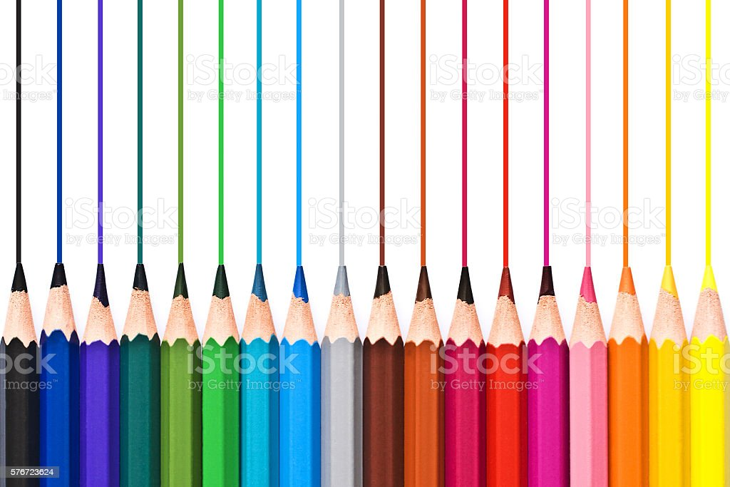 Colorful wooden pencils drawing lines isolated on white background stock photo