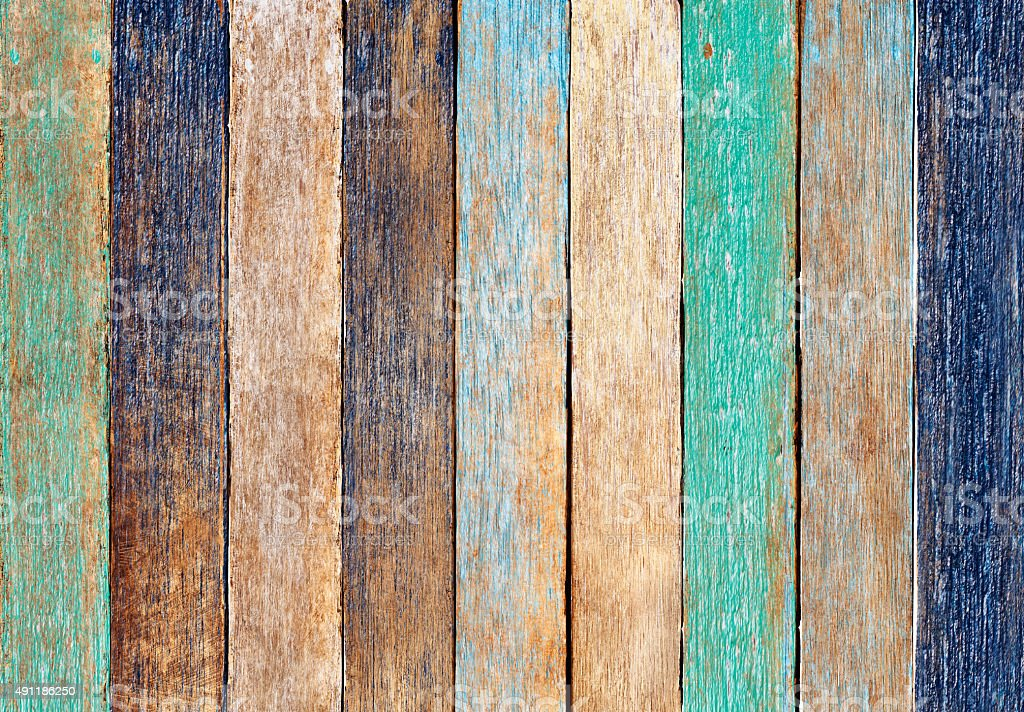 Colorful Wooden Plank Background Old Fashion Concept stock photo