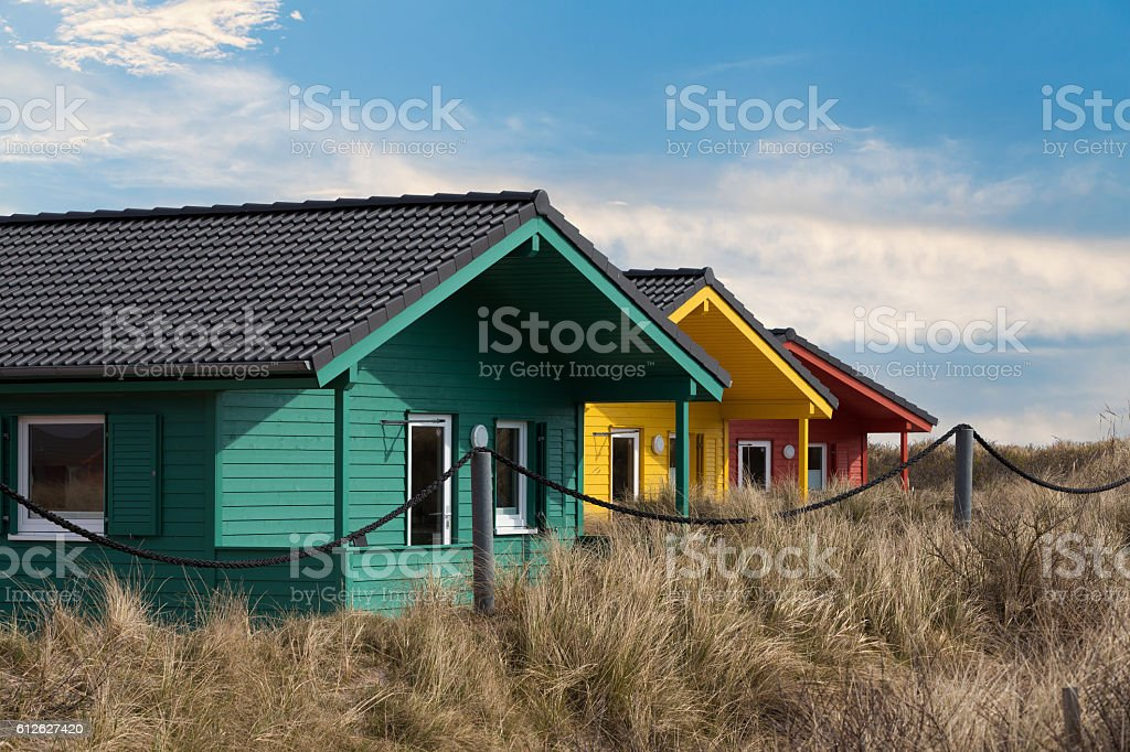 colorful wooden tiny houses on the island royalty-free stock photo