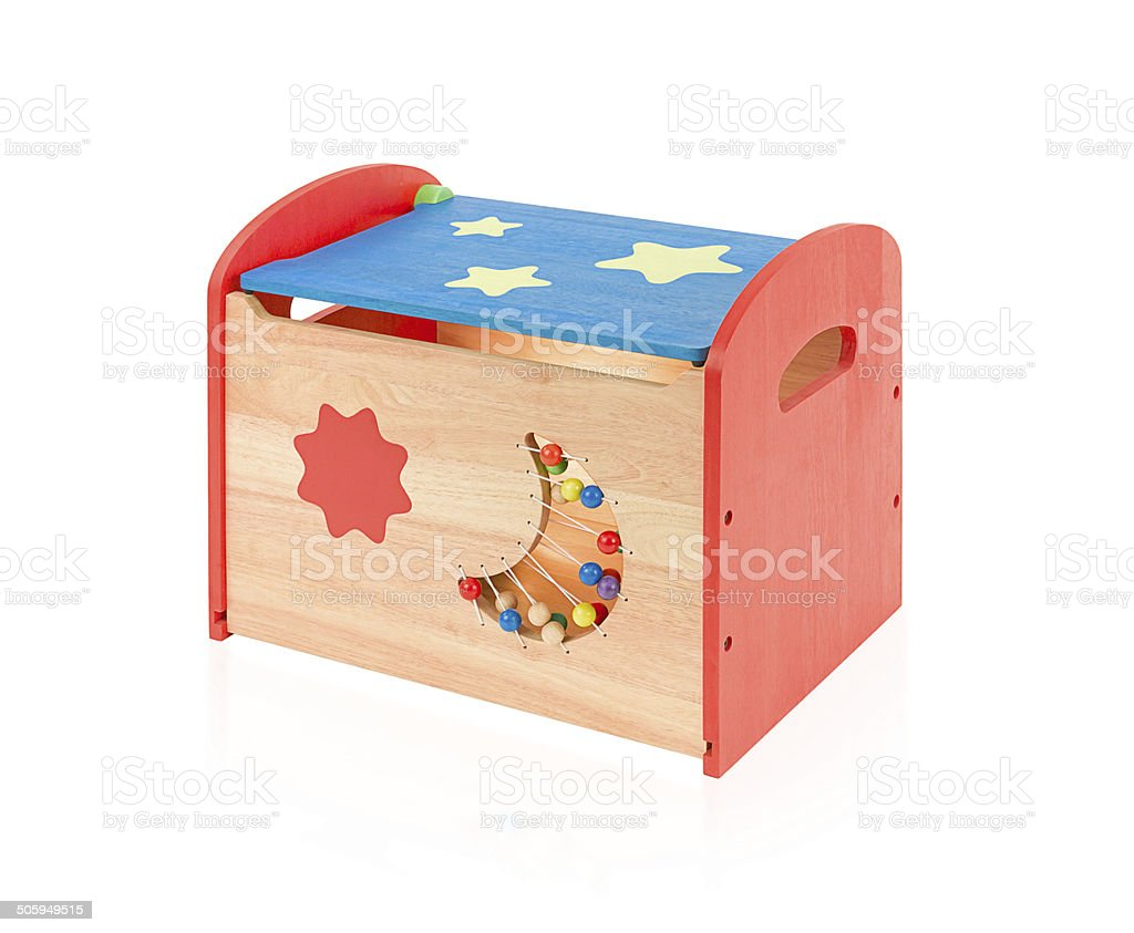 Colorful wooden toy box isolated on white stock photo