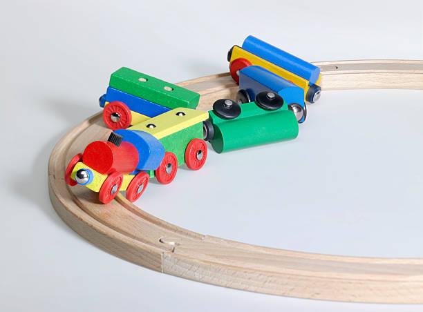 colorful wooden toy train and tracks - derail bildbanksfoton och bilder