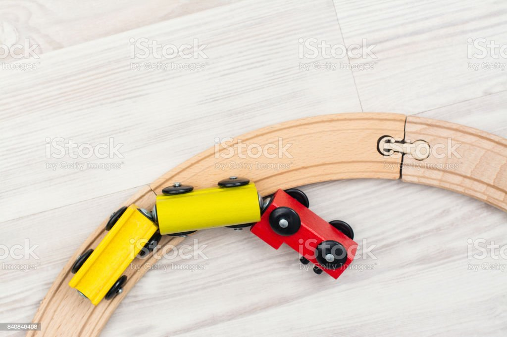 Colorful wooden toy train stock photo