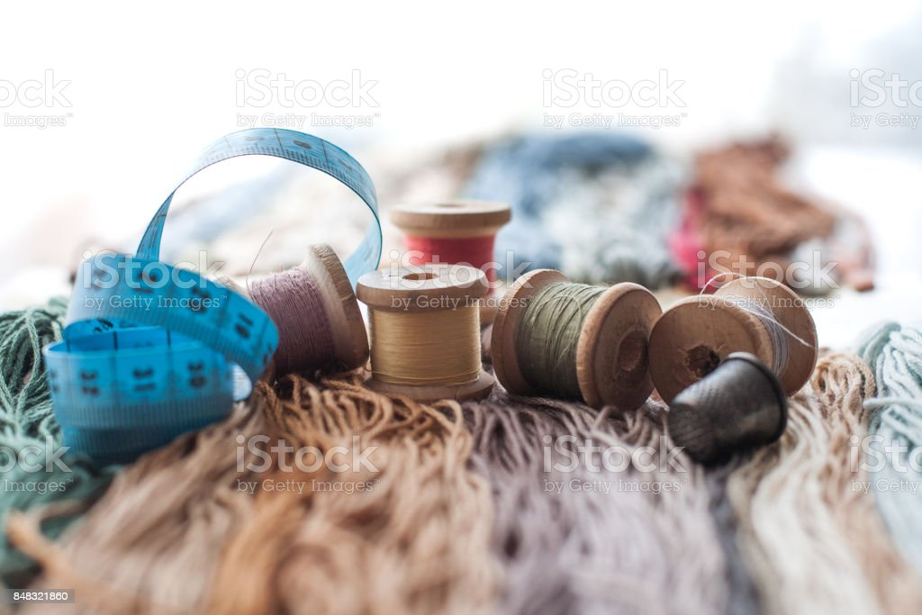 Colorful wool threads stock photo