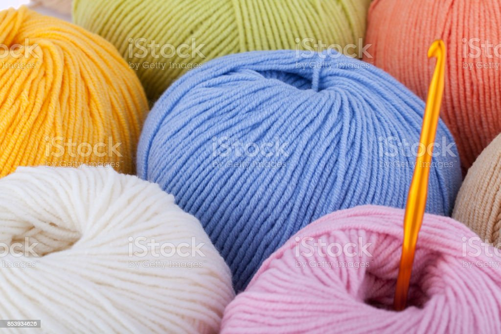 Colorful wool yarn balls stock photo