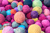 colorful wool yarn silk balls for knitting  in cusco, peru