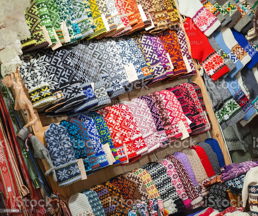 Colorful woolen mittens stock photo