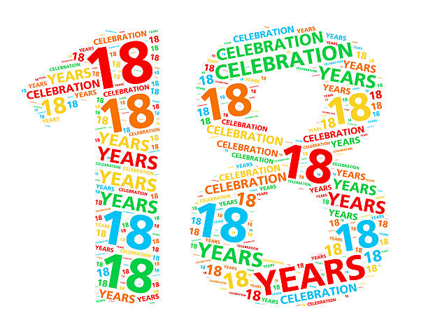 colorful word cloud for 18 year birthday or anniversary - number 18 stock photos and pictures